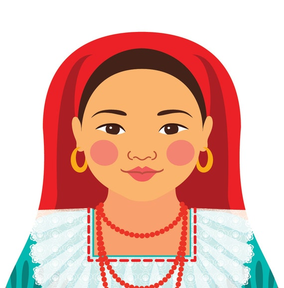 Salvadoran Doll Art Print with traditional folk dress, matryoshka