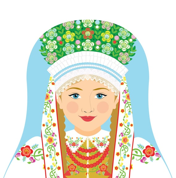 Łowicz Polish Doll Art Print with traditional dress, matryoshka