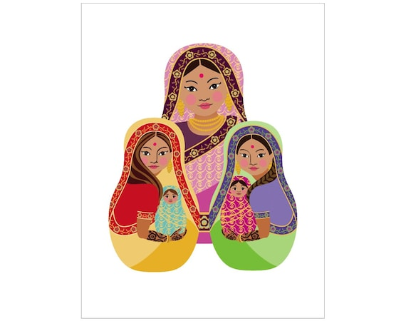 Indian Mothers and Daughters Wall Art Print with traditional dress drawn in a Russian matryoshka nesting doll shape