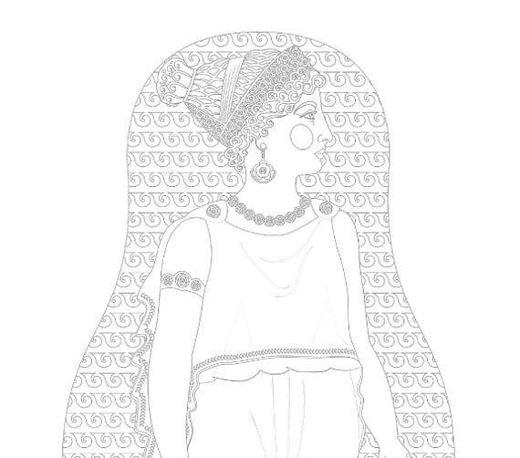 Ancient Greek Doll Coloring Sheet Printable, matryoshka