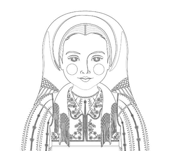 Romanian Doll Folk Dress Coloring Sheet Printable Matryoshka
