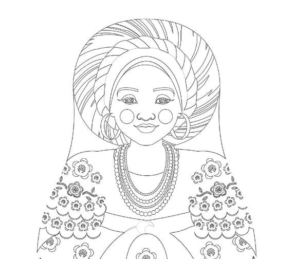 Bahia Brazilian Doll Traditional Dress Coloring Sheet Printable
