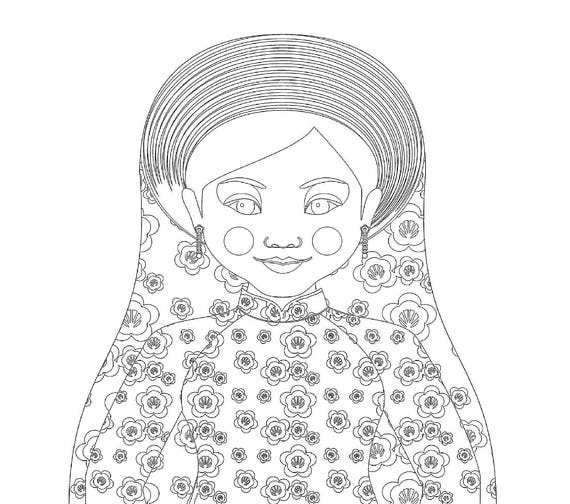 Vietnamese Doll Traditional Dress Coloring Sheet Printable