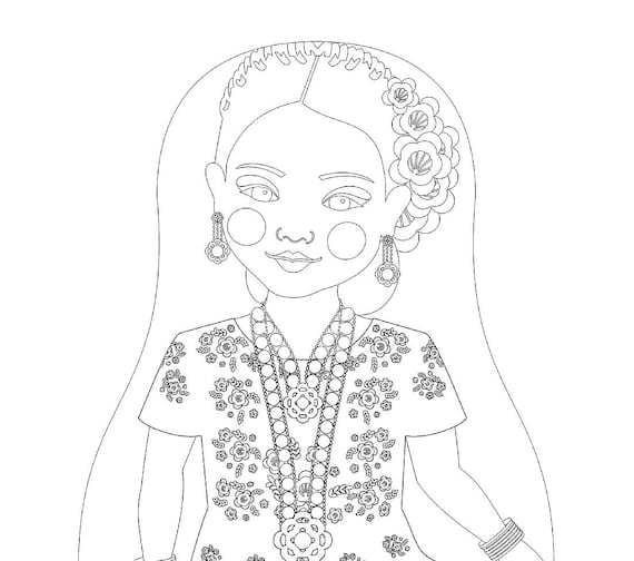Mexican Tehuana Doll Traditional Dress Coloring Sheet Printable