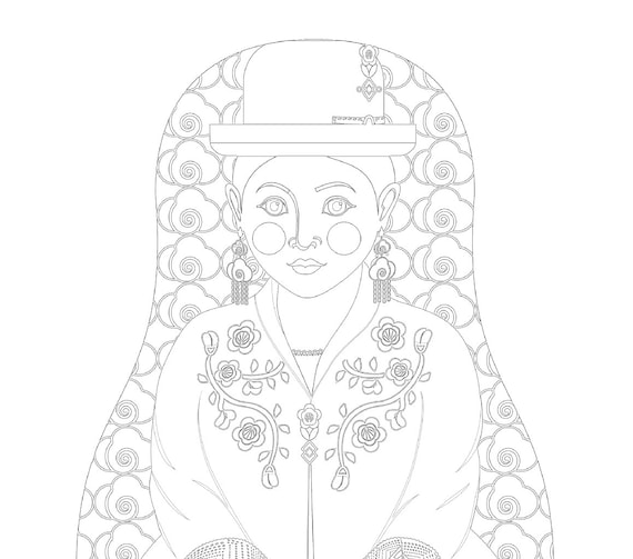 Bolivian Aymara Doll Coloring Sheet Printable Matryoshka