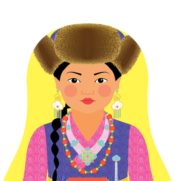 Sherpa Doll Art Print with traditional folk dress, matryoshka