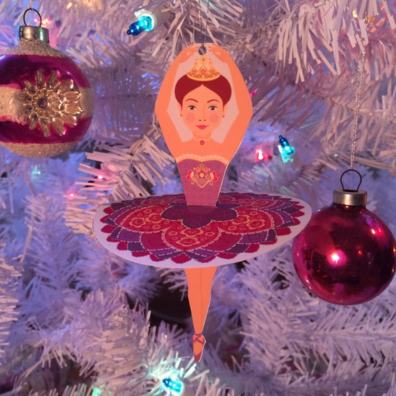 Ballerina Sugar Plum Fairy Ornament Decoration Printable file
