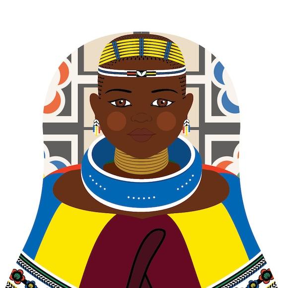 Ndebele South African Doll Art Print traditional dress matryoshka