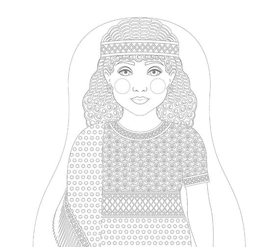 Ancient Assyrian Doll, Traditional Folk Dress, Coloring Sheet Printable
