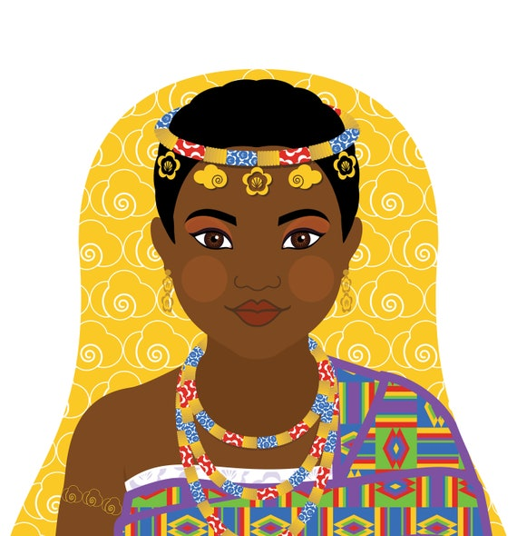 Ghanaian Doll Art Print with traditional dress, matryoshka
