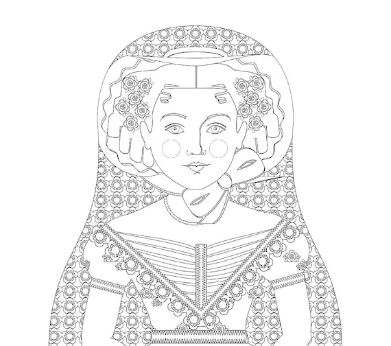 English Rose Doll Traditional Folk Dress Coloring Sheet Printable