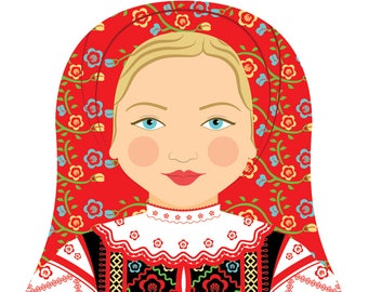 Belarusian Wall Art Print with culturally traditional dress drawn in a Russian matryoshka nesting doll shape