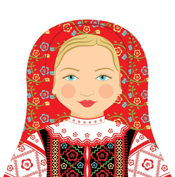 Belarusian Doll Art Print with traditional folk dress, matryoshka