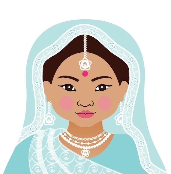 Aqua Indian Doll Art Print with traditional folk dress matryoshka