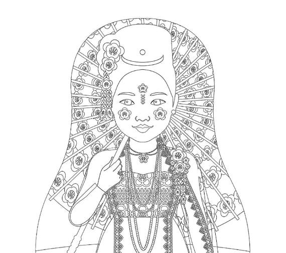 Burmese Myanmar Doll Traditional Dress Coloring Sheet Printable