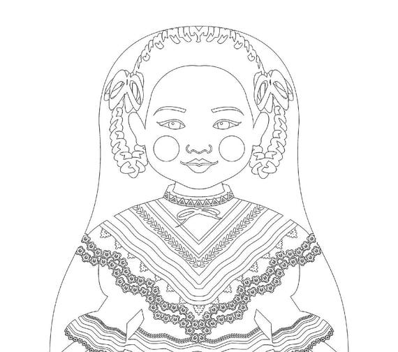 Mexican Dancer Doll Traditional Dress Coloring Sheet Printable