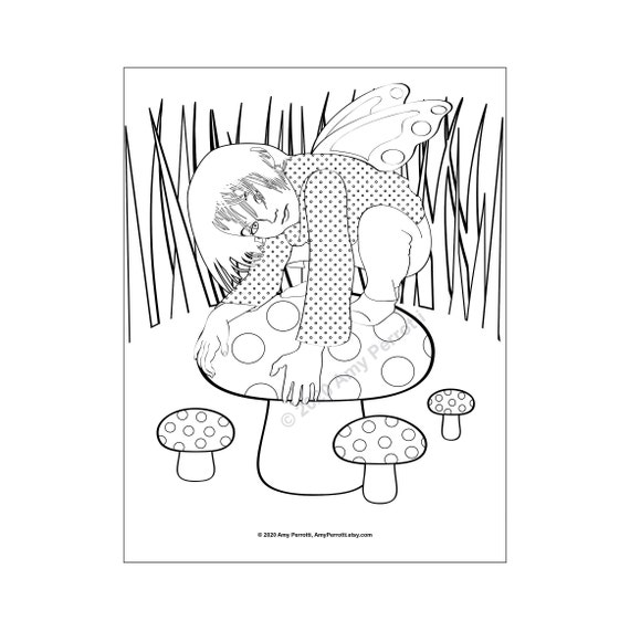 Pretend Fairy and Mushrooms coloring page printable file