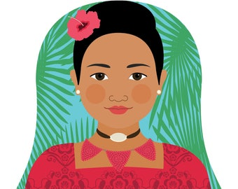 Tongan Wall Art Print featuring culturally traditional dress drawn in a Russian matryoshka nesting doll shape