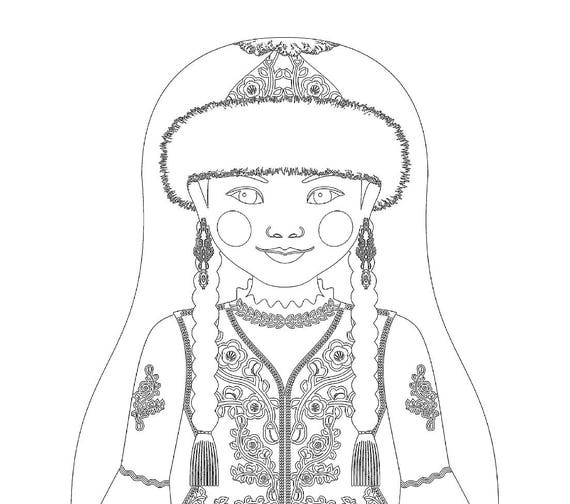 Kazakh Doll Traditional Dress Coloring Sheet Printable Matryoshka