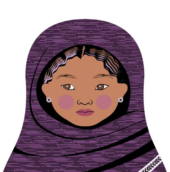 Tuareg Doll Art Print with traditional violet dress, matryoshka