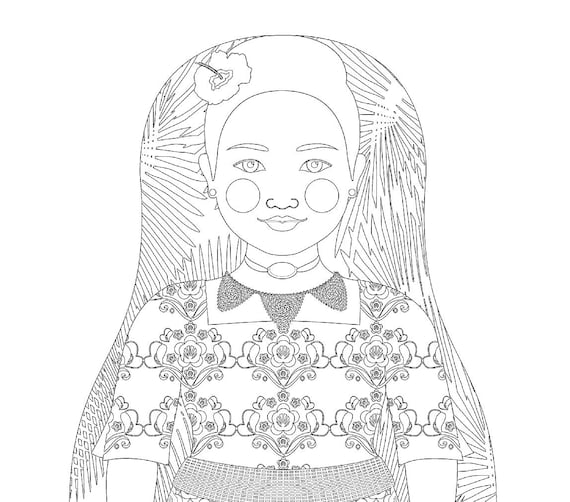 Tongan Doll Traditional Dress Coloring Sheet Printable Matryoshka
