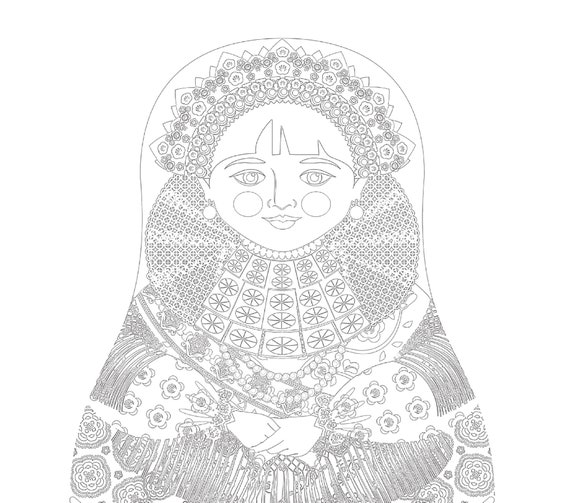 Slavonija Croatian Doll, Traditional Folk Dress, Coloring Sheet Printable