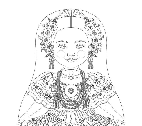 Panamanian Doll Folk Dress Coloring Sheet Printable Matryoshka