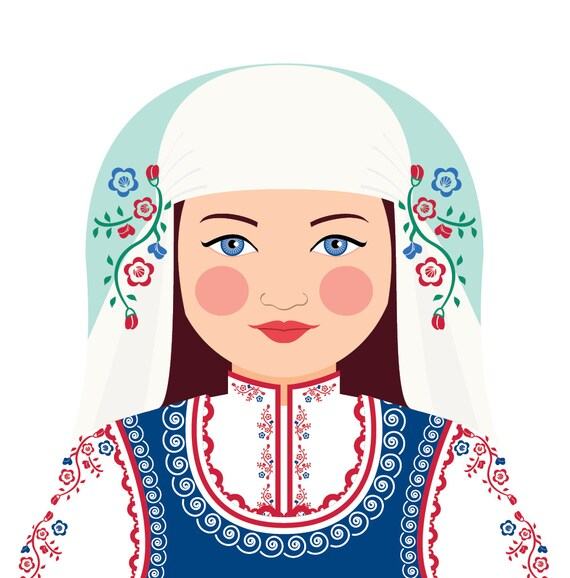 Bulgarian Doll Art Print with traditional folk dress, matryoshka