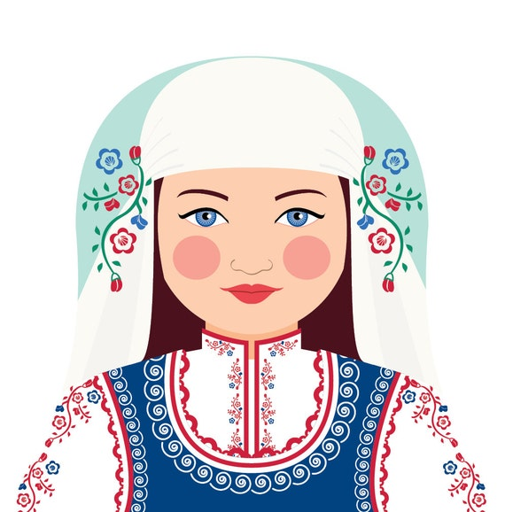 Bulgarian Doll Art Print with traditional folk dress, matryoshka