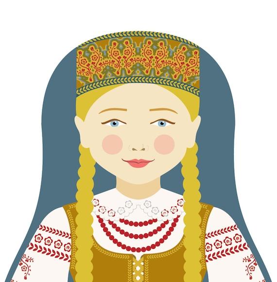 Lithuanian Doll Art Print with traditional folk dress, matryoshka