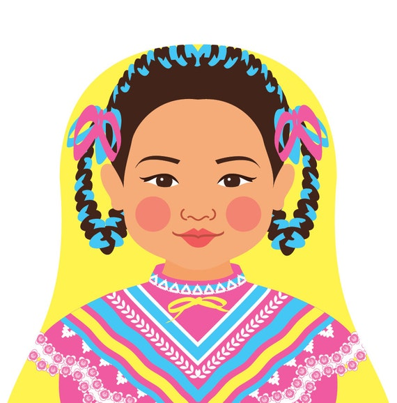 Mexican Dancer Doll Art Print with traditional dress, matryoshka