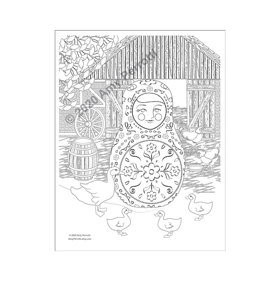 Matryoshka on the Farm coloring page printable file