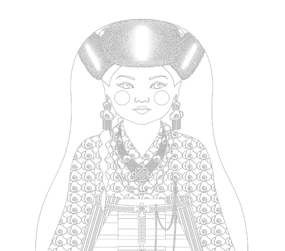 Sherpa Doll Folk Dress Coloring Sheet Printable Matryoshka