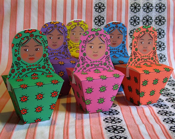 African Matryoshka Party Favor Boxes Printable Files Babushka Dolls, Nesting Dolls, Stacking Dolls