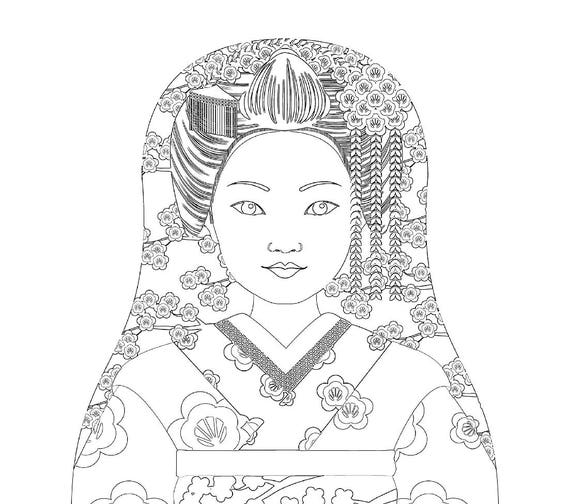 Japanese Geisha Doll Traditional Dress Coloring Sheet Printable