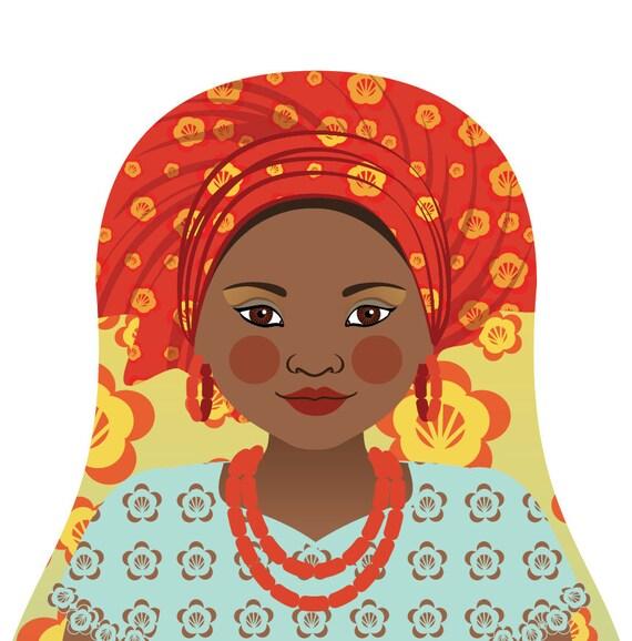 Southern Nigerian Doll Art Print with folk dress, matryoshka