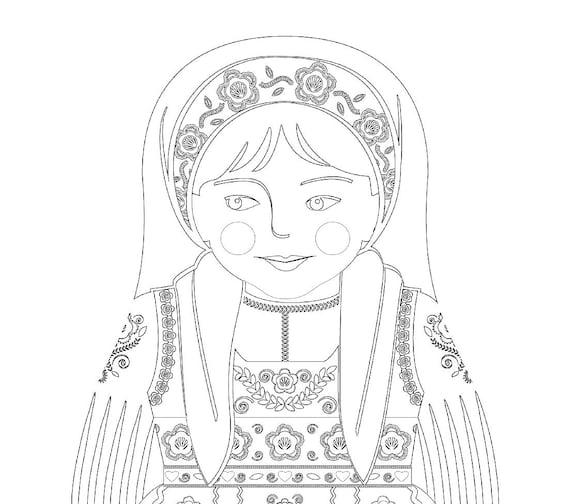 Portuguese Doll Folk Dress Coloring Sheet Printable Matryoshka