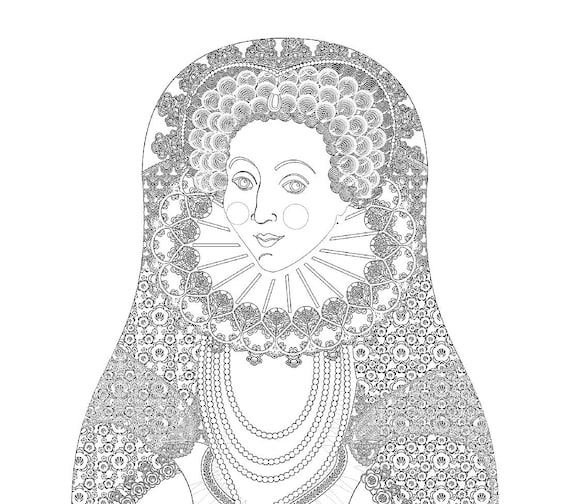 Queen Elizabeth I of England Coloring Sheet Printable, matryoshka