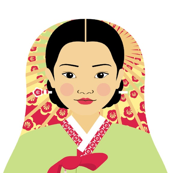 Korean Doll Art Print with traditional folk dress, matryoshka