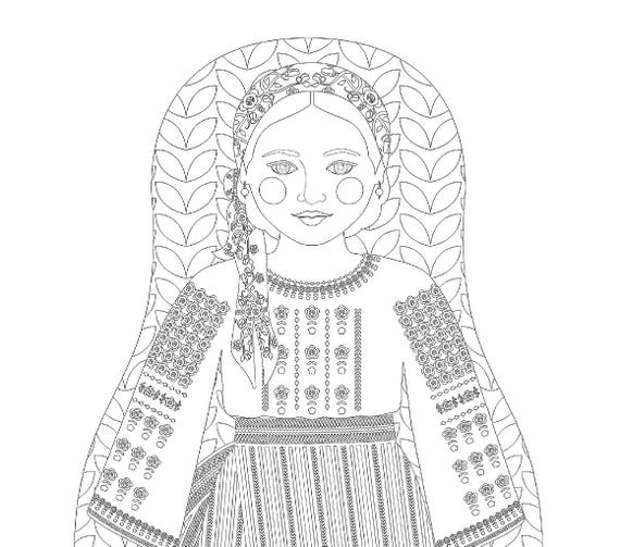 Moldovan Doll Folk Dress Coloring Sheet Printable Matryoshka
