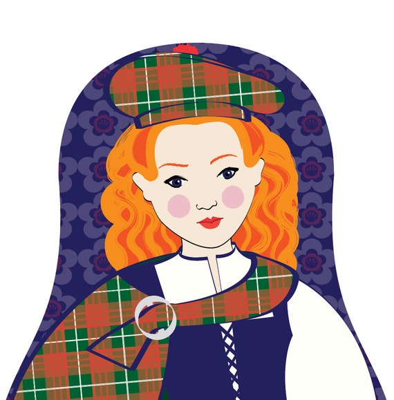 Scotswoman Doll Art Print with traditional folk dress, matryoshka