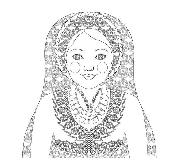 Greek Doll Traditional Dress Coloring Sheet Printable, matryoshka