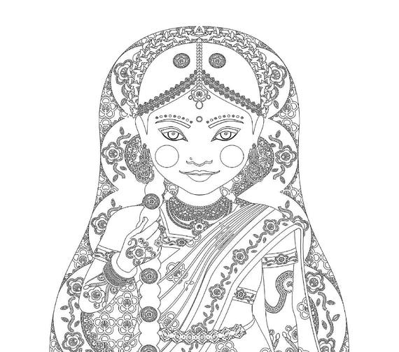 South Indian Bride Doll Coloring Sheet Printable Matryoshka