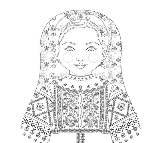 Belarusian Doll Folk Dress Coloring Sheet Printable Matryoshka