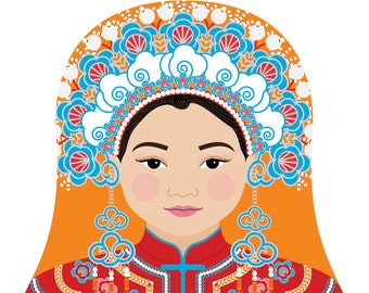 Chinese Bride Wall Art Print featuring cultural traditional dress drawn in a Russian matryoshka nesting doll shape