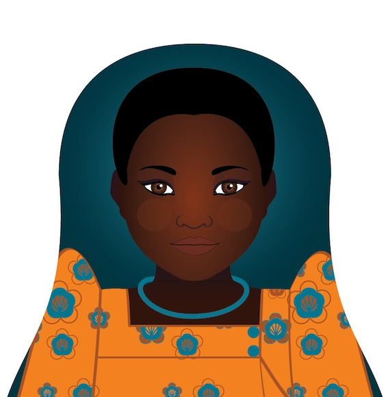 Ugandan Doll Art Print with traditional folk dress, matryoshka