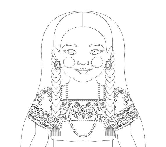 Mexican China Poblana Doll Folk Dress Coloring Sheet Printable