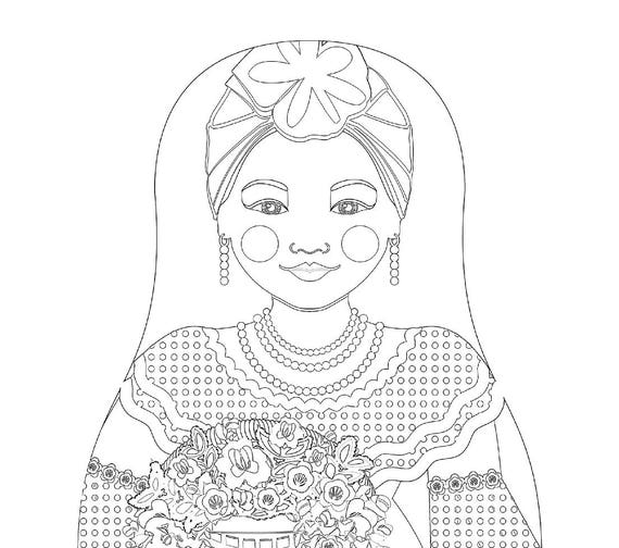 Sienna Cuban Doll Traditional Folk Dress Coloring Sheet Printable