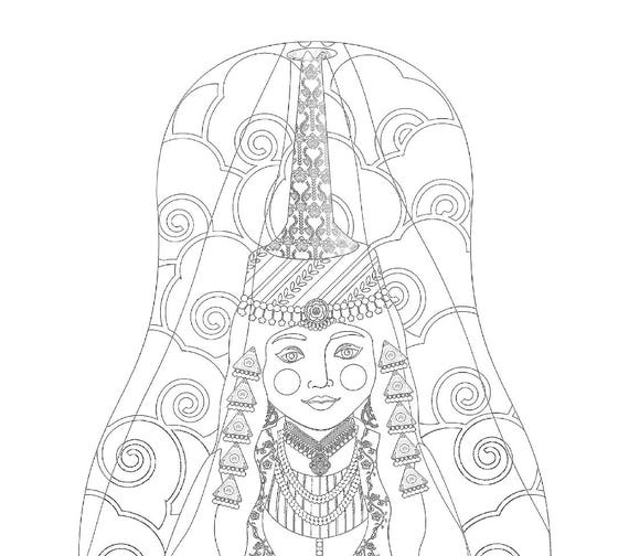 Lebanese tall headdress Doll Traditional Dress Coloring Printable