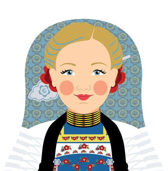 Swiss Doll Art Print with traditional folk dress, matryoshka